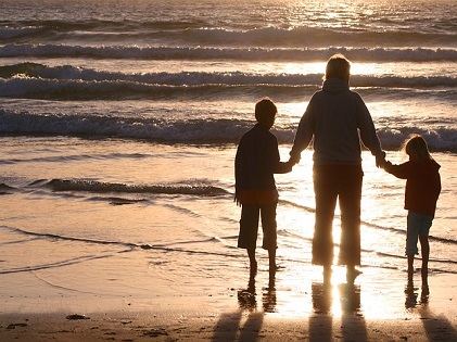 family parents kids beach bonding