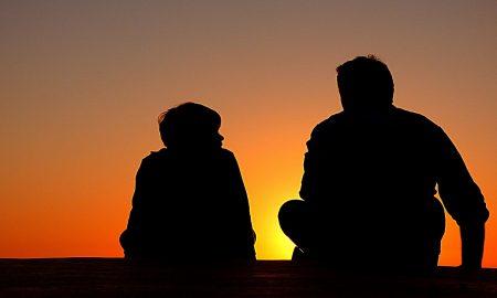 slhouette father son family conversation